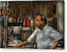 City - Ny - The Pretzel Vendor Acrylic Print by Mike Savad