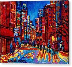 City After The Rain Acrylic Print by Carole Spandau