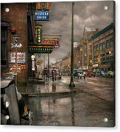 City - Amsterdam Ny -  Call 666 For Taxi 1941 Acrylic Print