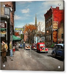 Acrylic Print featuring the photograph City - Amsterdam Ny - Downtown Amsterdam 1941 by Mike Savad