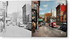Acrylic Print featuring the photograph City - Amsterdam Ny - Downtown Amsterdam 1941- Side By Side by Mike Savad