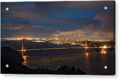 Acrylic Print featuring the photograph City And The Bridge by Stephen Holst