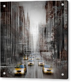 City-art Nyc 5th Avenue Traffic Acrylic Print by Melanie Viola