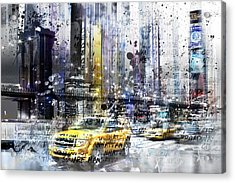 City-art Nyc Collage Acrylic Print by Melanie Viola