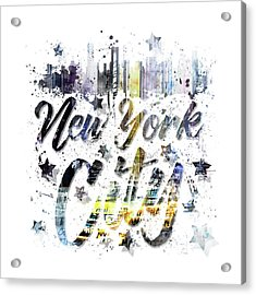 City Art Nyc Collage - Typography Acrylic Print