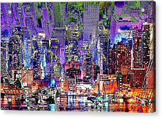 City Art Syncopation Cityscape Acrylic Print by Mary Clanahan