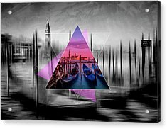City Art Venice Canal Grande And Gondolas At Sunset - Geometric Collage II Acrylic Print