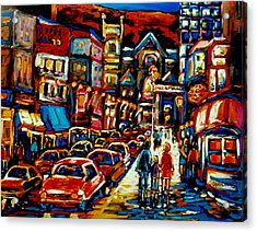 City At Night Downtown Montreal Acrylic Print by Carole Spandau