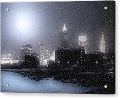 City Bathed In Winter Acrylic Print by Kenneth Krolikowski
