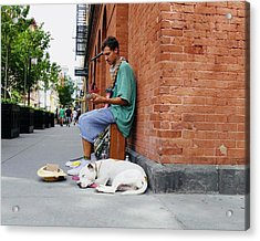 Acrylic Print featuring the photograph City Busker by Ryan Shapiro