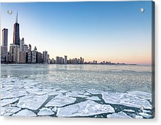 City By The Frozen Lake Acrylic Print