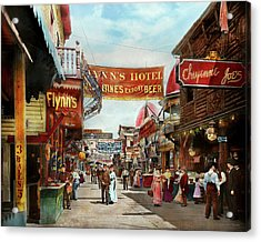 Acrylic Print featuring the photograph City - Coney Island Ny - Bowery Beer 1903 by Mike Savad