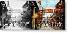 Acrylic Print featuring the photograph City - Coney Island Ny - Bowery Beer 1903 - Side By Side by Mike Savad