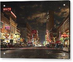City - Dallas Tx - Elm Street At Night 1941 Acrylic Print by Mike Savad