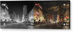 City - Dallas Tx - Elm Street At Night 1941 - Side By Side Acrylic Print by Mike Savad