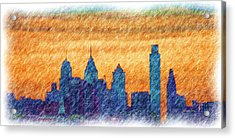 City In Pencil Acrylic Print by Thomas  MacPherson Jr