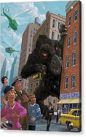 Acrylic Print featuring the digital art City Invasion Furry Monster by Martin Davey