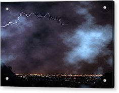 Acrylic Print featuring the photograph City Lights Night Strike by James BO Insogna