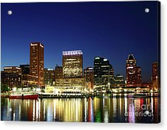 City Lights Reflected In Baltimore Inner Harbor At Twilight Acrylic Print