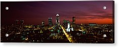 City Lit Up At Night, Indianapolis Acrylic Print