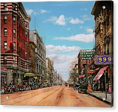 Acrylic Print featuring the photograph City - Memphis Tn - Main Street Mall 1909 by Mike Savad
