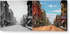 Acrylic Print featuring the photograph City - Memphis Tn - Main Street Mall 1909 - Side By Side by Mike Savad