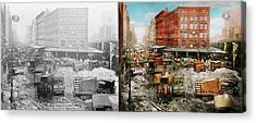 City - New York Ny - Stuck In A Rut 1920 - Side By Side Acrylic Print