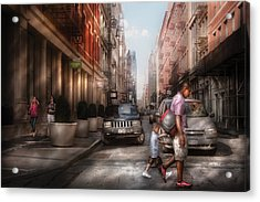 City - Ny - Walking Down Mercer Street Acrylic Print by Mike Savad