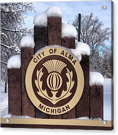 City Of Alma Michigan Snow Acrylic Print