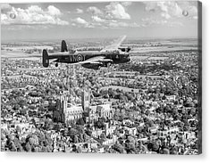 Acrylic Print featuring the photograph City Of Lincoln Vn-t Over The City Of Lincoln Bw Version by Gary Eason