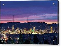 City Of Portland Oregon Skyline At Twilight Acrylic Print by David Gn