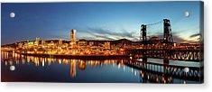 City Of Portland Skyline Blue Hour Panorama Acrylic Print by David Gn