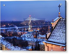City Of Warsaw Winter Evening Cityscape Acrylic Print by Artur Bogacki
