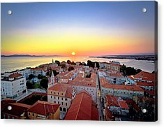 City Of Zadar Skyline Sunset View Acrylic Print