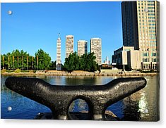 City On A Bollard Acrylic Print by Andrew Dinh