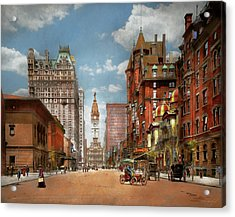 Acrylic Print featuring the photograph City - Pa Philadelphia - Broad Street 1905 by Mike Savad