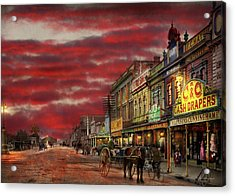 Acrylic Print featuring the photograph City - Palmerston North Nz - The Shopping District 1908 by Mike Savad