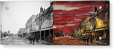 Acrylic Print featuring the photograph City - Palmerston North Nz - The Shopping District 1908 - Side By Side by Mike Savad