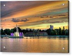 City Park Fountain At Sunset Acrylic Print