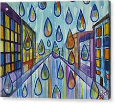 Acrylic Print featuring the painting City Rain by Angelique Bowman