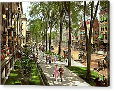 Acrylic Print featuring the photograph City - Saratoga Ny -  I Would Love To Be On Broadway 1915 by Mike Savad