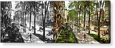Acrylic Print featuring the photograph City - Saratoga Ny -  I Would Love To Be On Broadway 1915 - Side By Side by Mike Savad