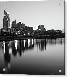 City Skyline Of Nashville Tennessee - Square Art Black And White Acrylic Print