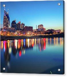 City Skyline Of Nashville Tennessee - Square Art Acrylic Print