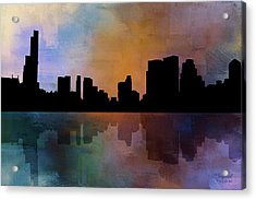City Skyline Reflections Acrylic Print by Theresa Campbell