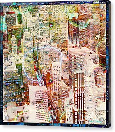 City Snowstorm Acrylic Print by Barbara Berney