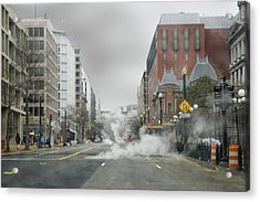 Acrylic Print featuring the photograph City Street On A Rainy Day by Francesa Miller