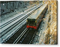 City Train In Berlin Under The Snow Acrylic Print