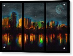 City Under A Blue Moon Acrylic Print