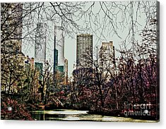 Acrylic Print featuring the photograph City View From Park by Sandy Moulder